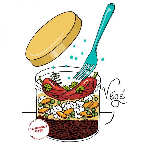 plat végétarien du simone's café en bocaux à emporter