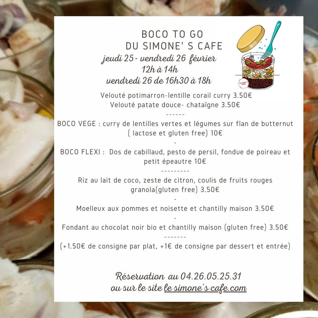 Boco to go, plats à emporter en bocaux, jeudi 25 et vendredi 26 février